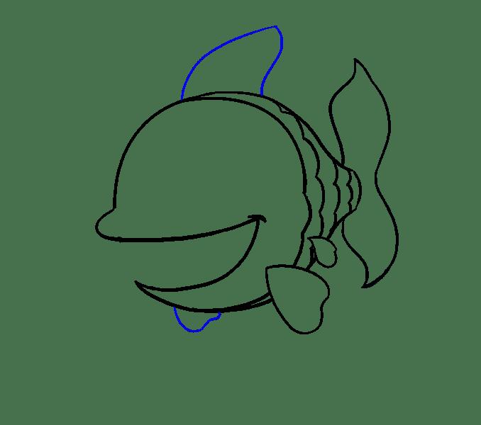 Cách vẽ cá hoạt hình: Bước 12