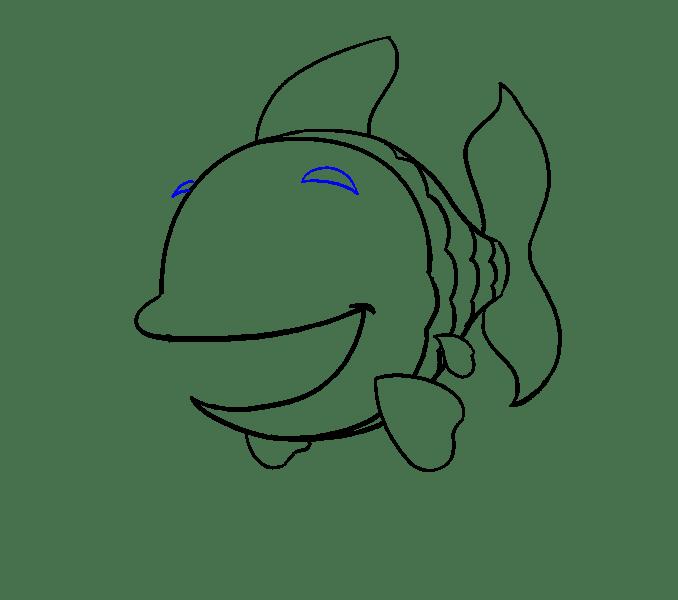Cách vẽ cá hoạt hình: Bước 13