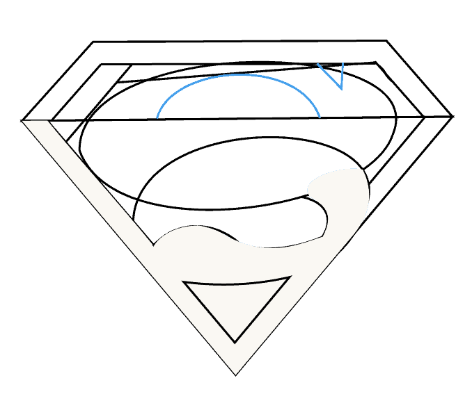 Cách vẽ Logo Superman: Bước 10