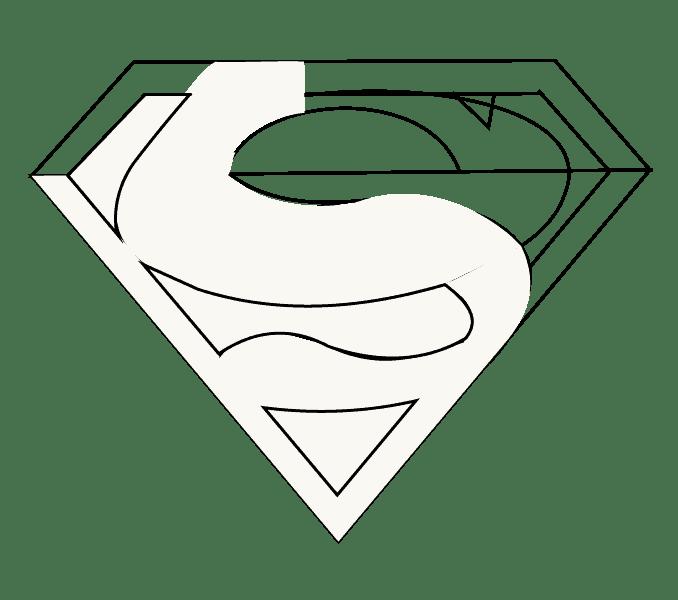 Cách vẽ Logo Superman: Bước 12