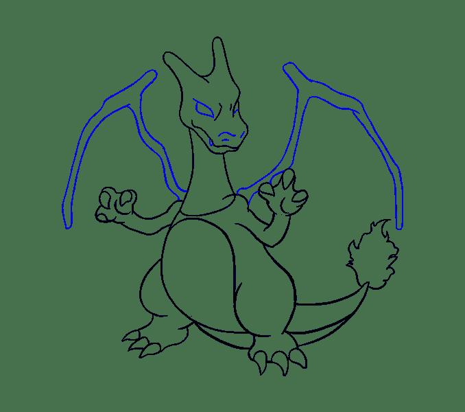 Cách vẽ Charizard: Bước 18