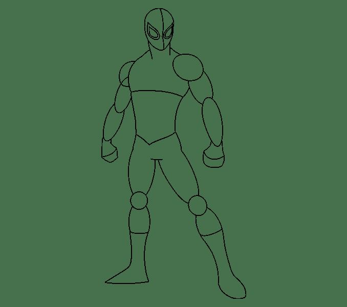 Cách vẽ Người nhện: Bước 12