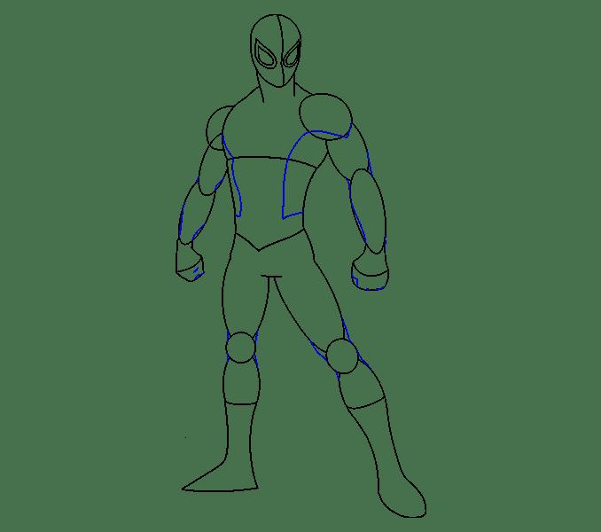 Cách vẽ Người nhện: Bước 13