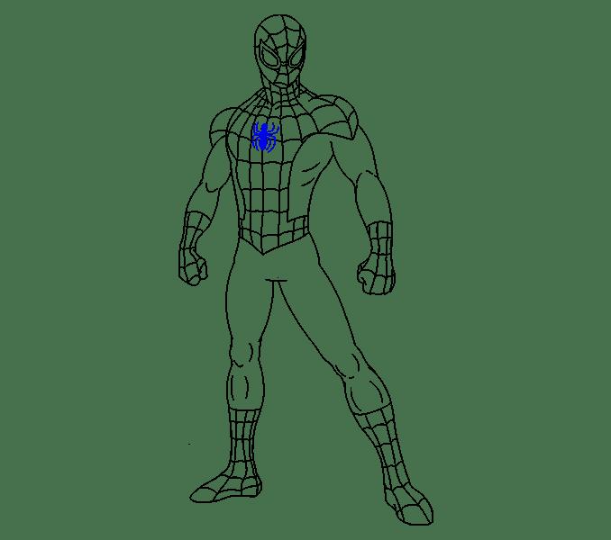 Cách vẽ Người nhện: Bước 19