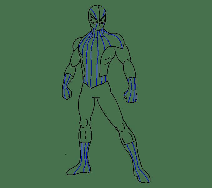 Cách vẽ Người nhện: Bước 17