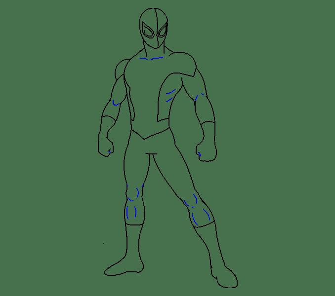 Cách vẽ Người nhện: Bước 16