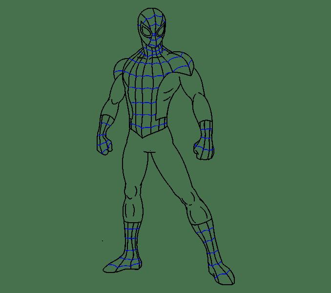 Cách vẽ Người nhện: Bước 18