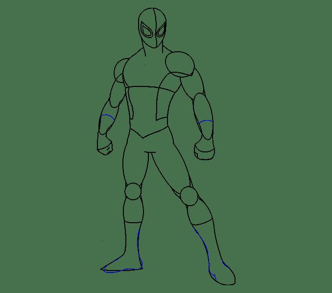 Cách vẽ Người nhện: Bước 14