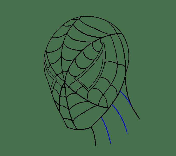 Cách vẽ khuôn mặt người nhện: Bước 17