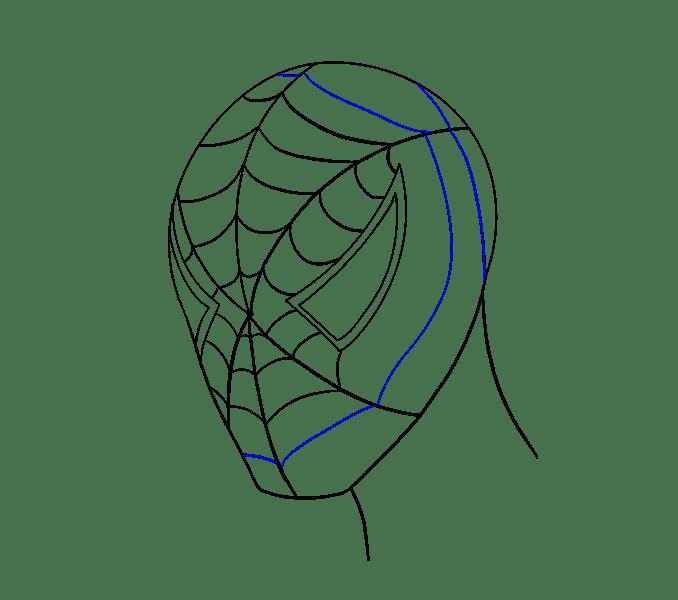 Cách vẽ khuôn mặt người nhện: Bước 15