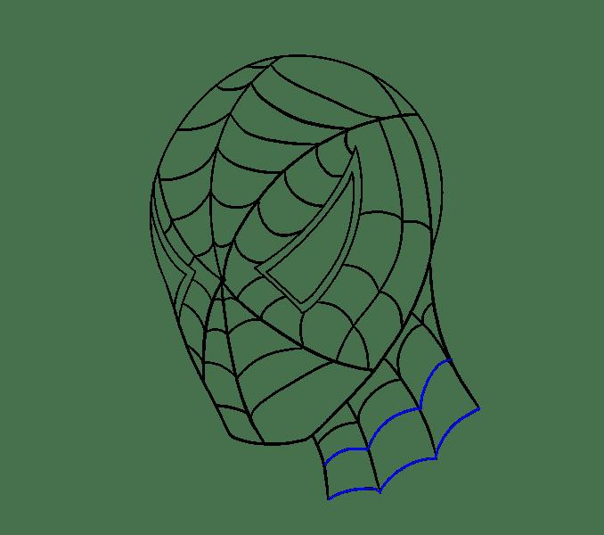 Cách vẽ khuôn mặt người nhện: Bước 19