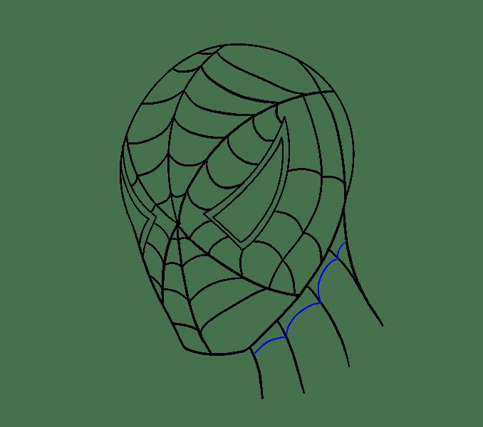 Cách vẽ khuôn mặt người nhện: Bước 18