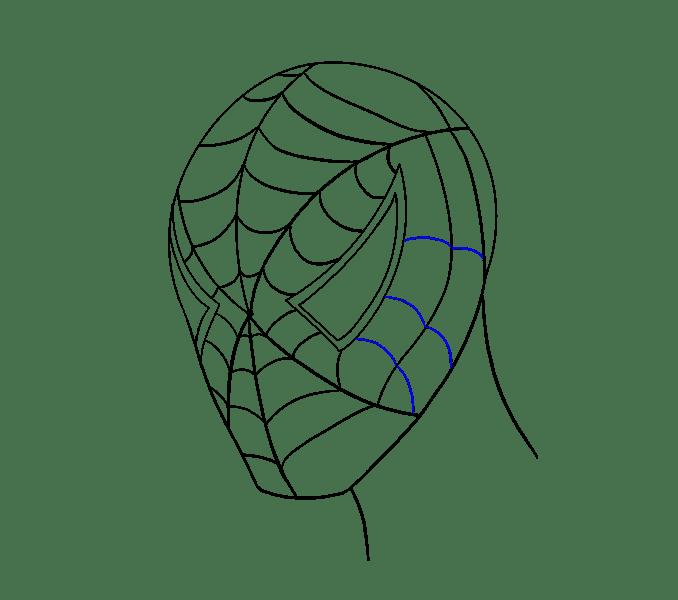 Cách vẽ khuôn mặt người nhện: Bước 16