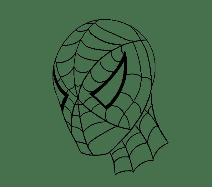 Cách vẽ khuôn mặt người nhện: Bước 20