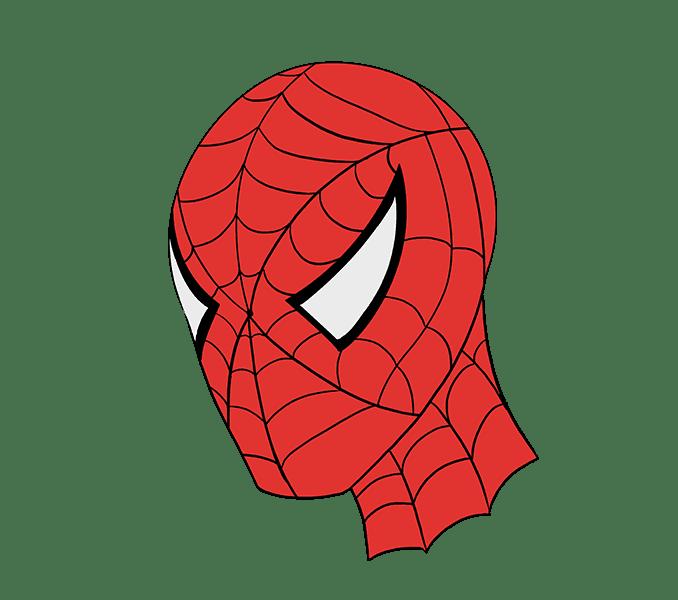 Cách vẽ khuôn mặt người nhện: Bước 21
