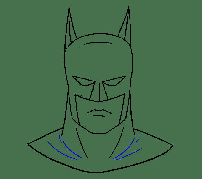 Cách vẽ khuôn mặt của Batman: Bước 18