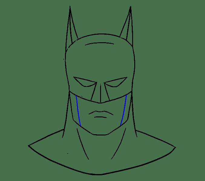 Cách vẽ khuôn mặt của Batman: Bước 17
