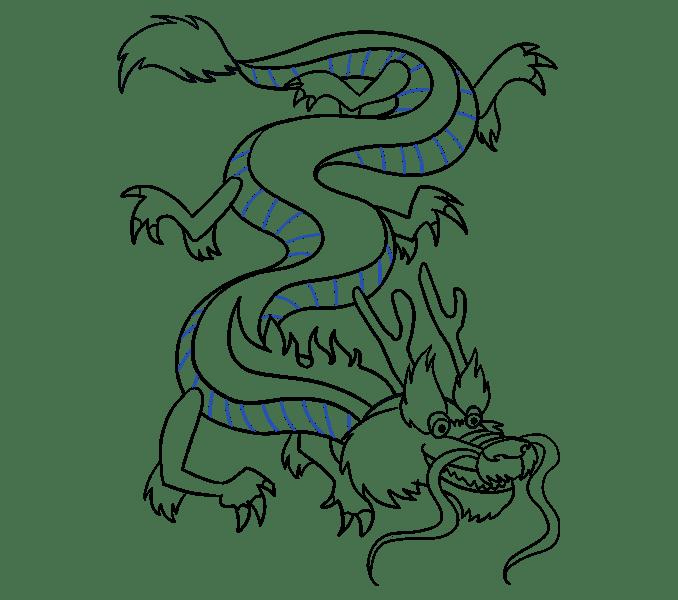Cách vẽ rồng Trung Quốc: Bước 19