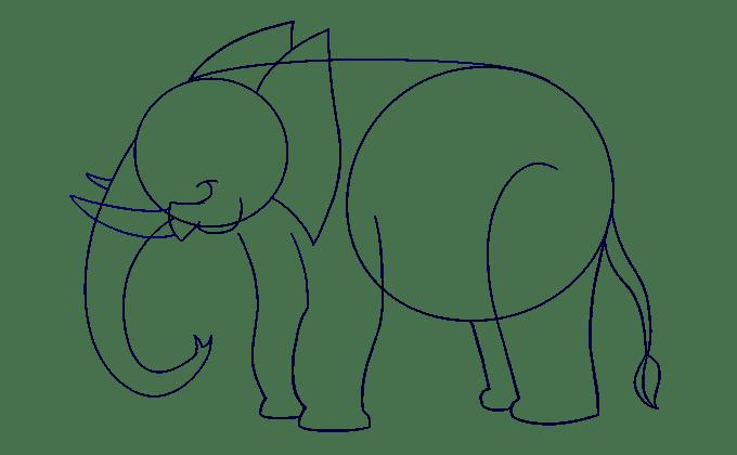 Cách vẽ voi: Bước 12