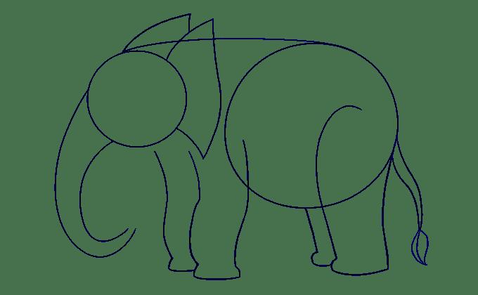 Cách vẽ voi: Bước 10