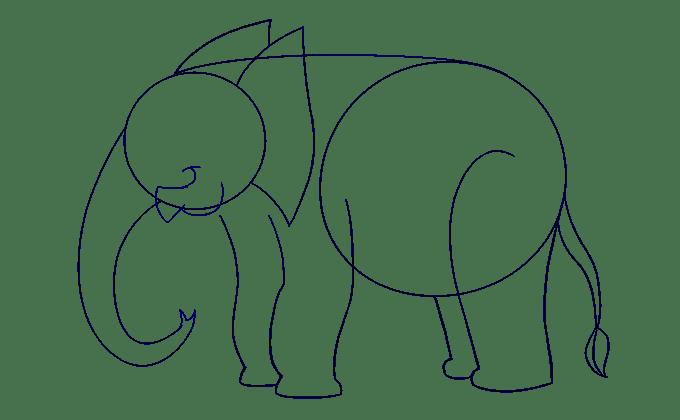 Cách vẽ voi: Bước 11