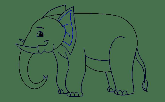 Cách vẽ voi: Bước 17
