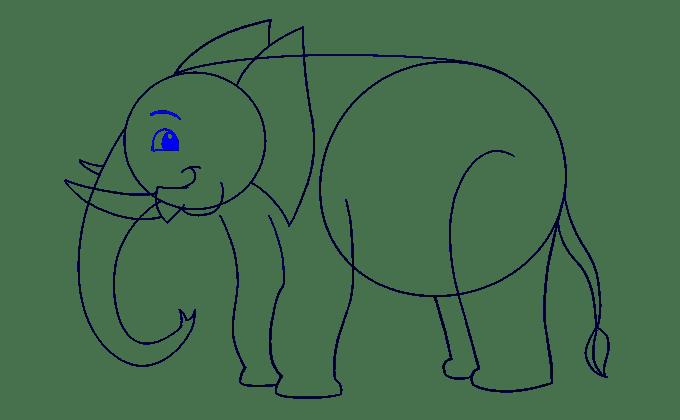 Cách vẽ voi: Bước 13