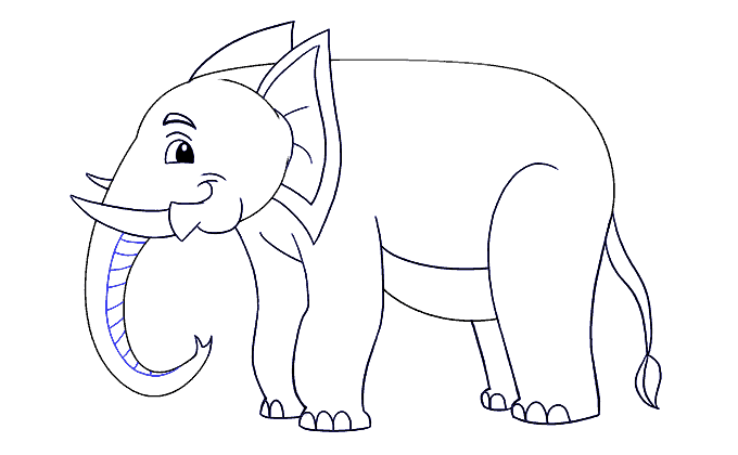 Cách vẽ voi: Bước 19