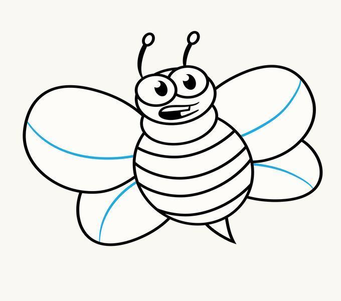 Cách vẽ Cartoon Bee: Bước 13