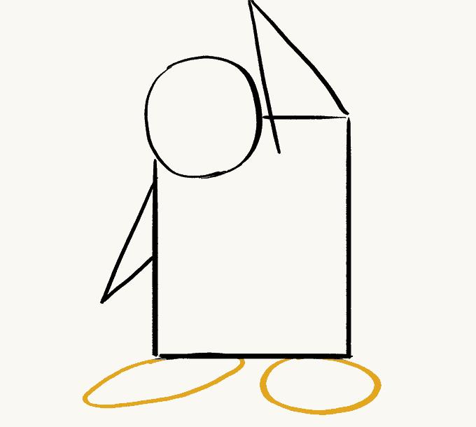 Cách vẽ Chim Cánh Cụt: Bước 4