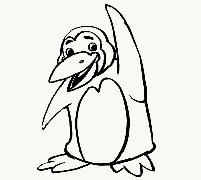 Cách vẽ Chim cánh cụt: Bước 19