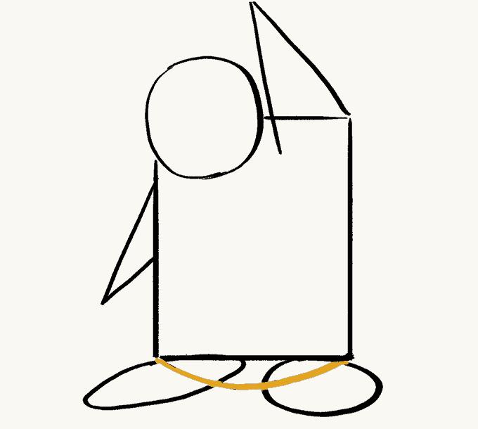 Cách vẽ Chim Cánh Cụt: Bước 5
