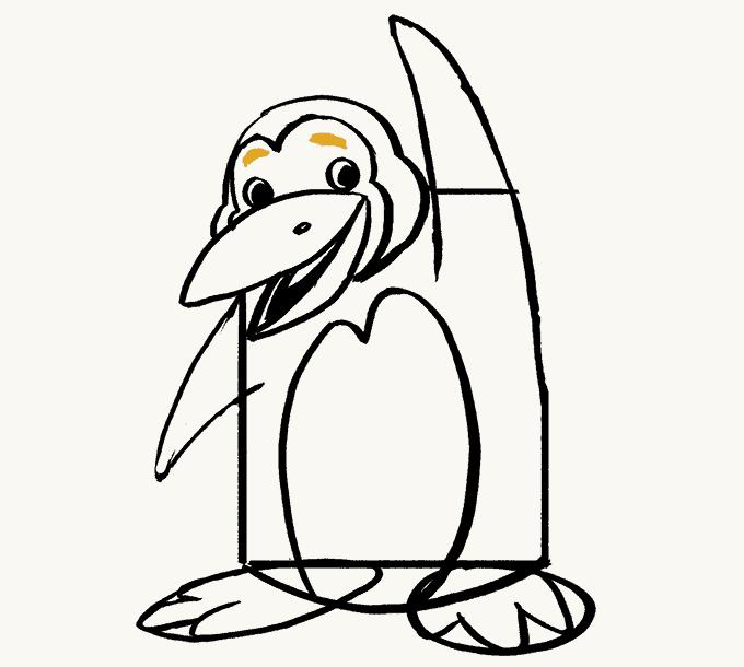 Cách vẽ Chim cánh cụt: Bước 17